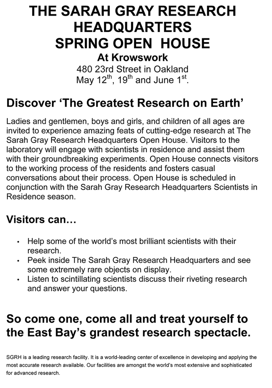 Microsoft Word - THE SARAH GRAY RESEARCH HEADQUARTERS.docx