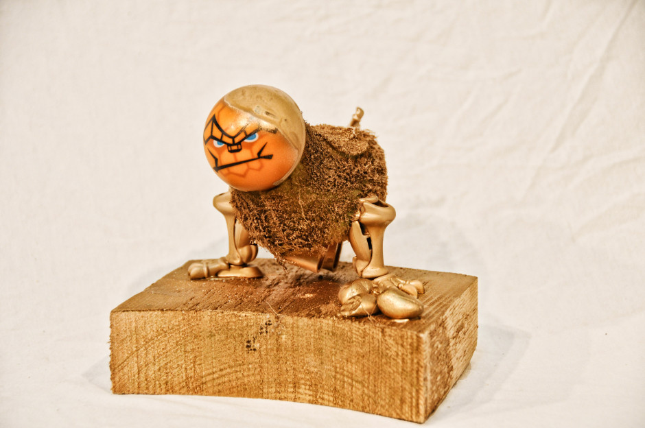 Artifact– God Figurine. Made by Noam Yanai for Alternative Histories from toys, stones, wood and spray paint.